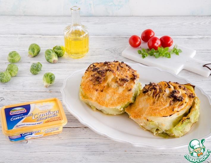 Рецепт: Запеченная капуста, фаршированная сыром и мясом