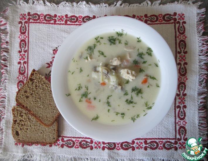 Рецепт: Сливочный суп с рисом и грибами