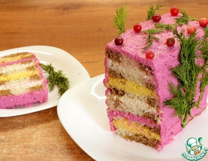 Рецепт: Закусочный торт Сырное наслаждение