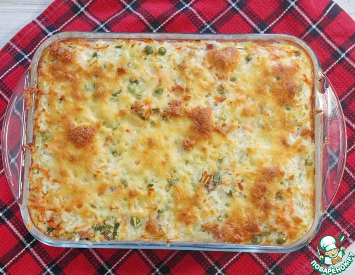 Рецепт: Рисовая запеканка с грудинкой и овощами