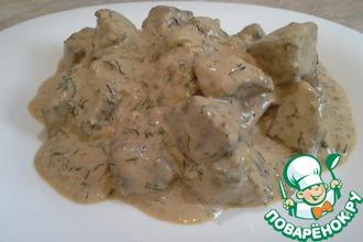 Рецепт: Печень в сырном соусе