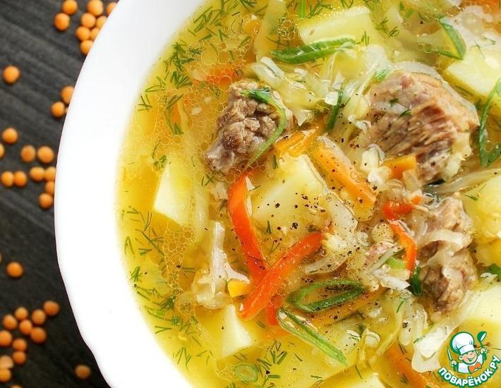 Рецепт: Чечевичный суп с капустой