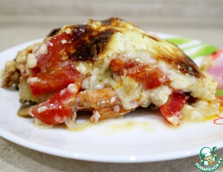 Рецепт: Свинина с грибами, помидорами и луком