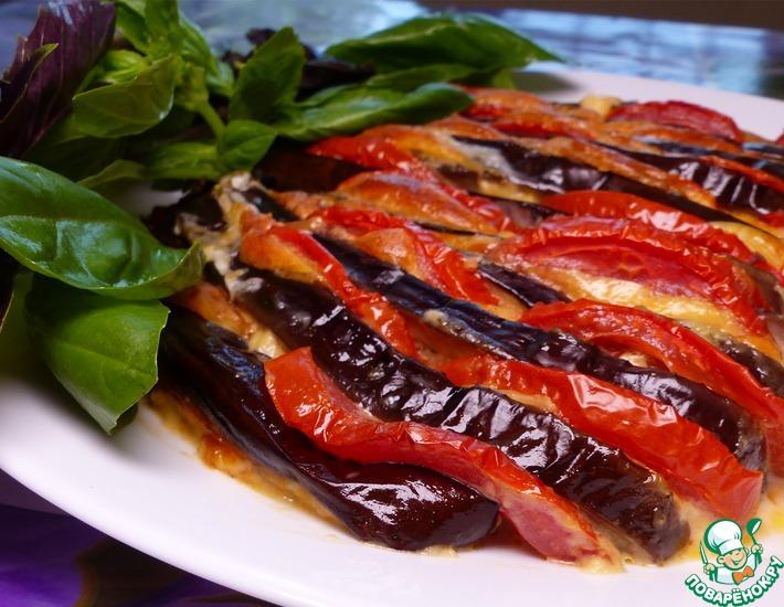 Рецепт: Веер из баклажанов, помидоров и сыра