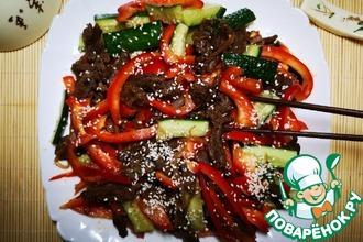 Рецепт: Тёплый мясной салат в азиатском стиле