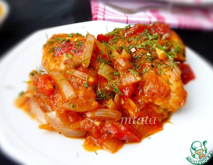 Рецепт: Курица в томатном соусе с луком