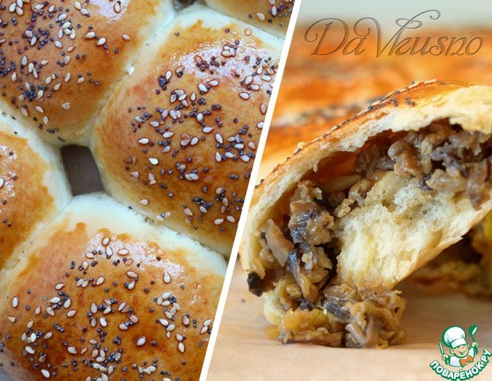 Рецепт: Булочки с сырно-грибной начинкой