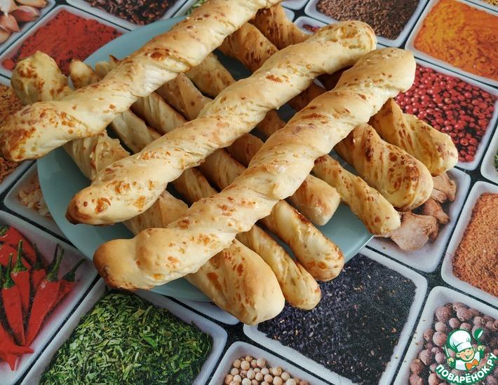 Рецепт: Хлебные палочки с сыром и кунжутом