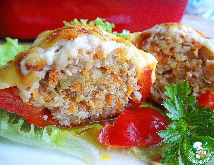 Рецепт: Фаршированные перцы под сырной шубой
