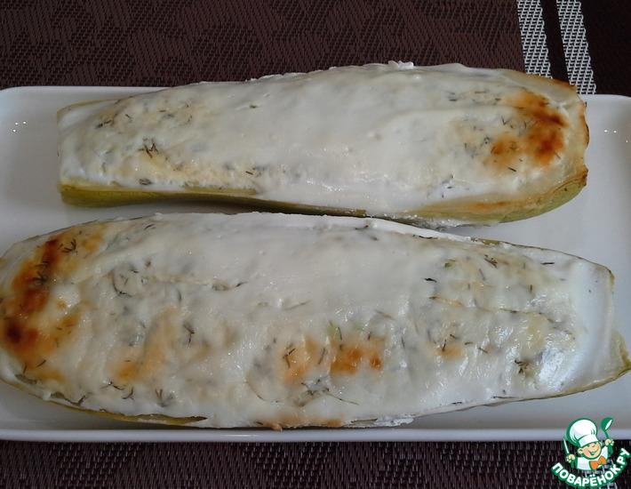 Рецепт: Кабачки с творогом и сыром