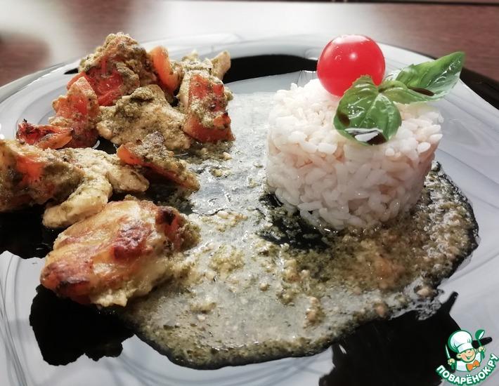 Рецепт: Куриное филе с помидорами и песто