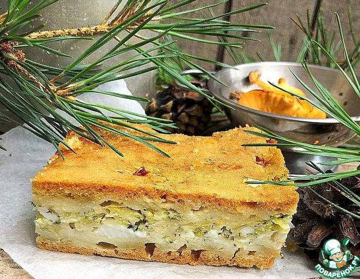 Рецепт: Заливной пирог Капустняк с сыром