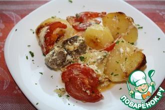 Рецепт: Запеченный картофель в молочно-сырном соусе