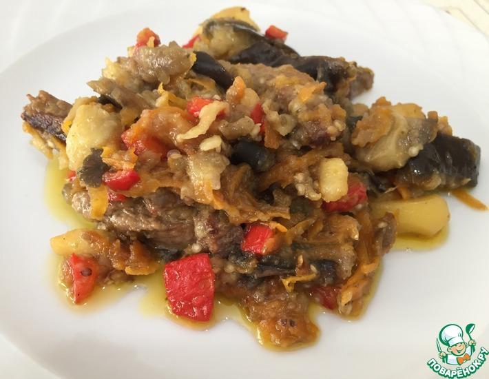 Рецепт: Мясо с баклажанами
