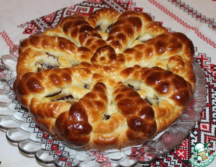 Рецепт: Пирог со сливами на дрожжевом тесте