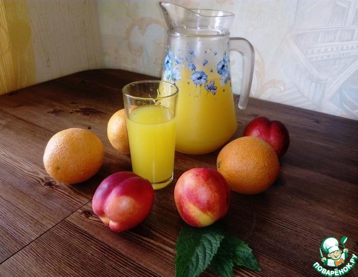 Рецепт: Компот без варки апельсиново-персиковый