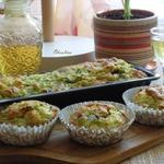 Кабачковые кексы с беконом и луком
