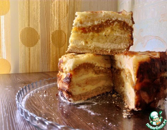 Рецепт: Творожное пирожное без замеса теста