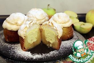 Рецепт: Запеченные яблоки под хрустящим безе