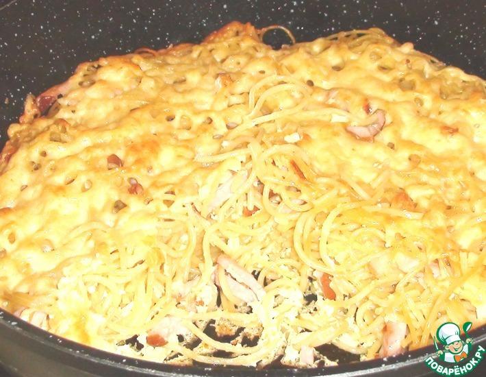 Рецепт: Запеканка из макарон а-ля карбонара