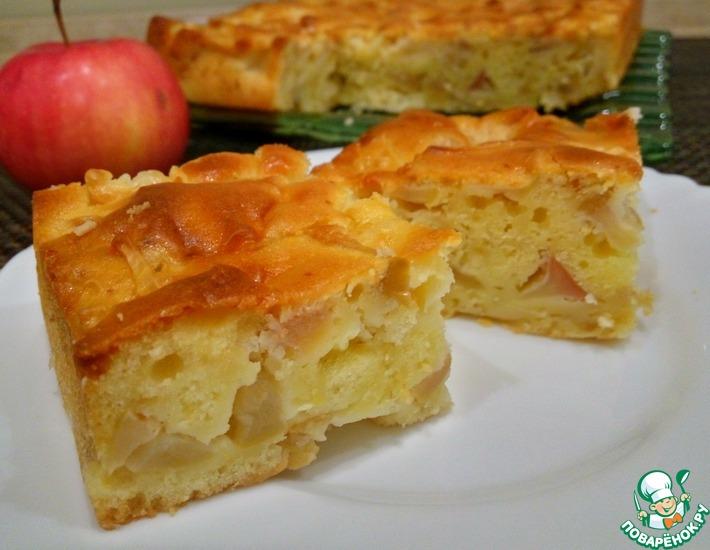 Рецепт: Мега яблочный пирог на кефире