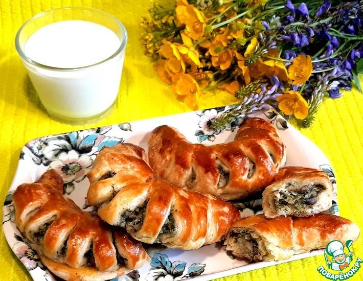 Рецепт: Закусочные рогалики с шампиньонами и брокколи