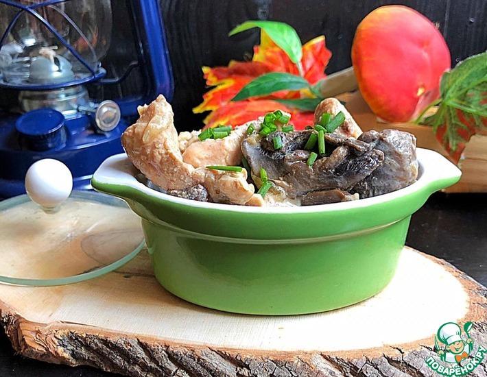 Рецепт: Куриная грудка с шампиньонами «Сливочная»