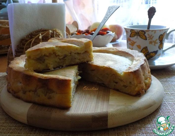 Рецепт: Заливной сметанно-геркулесовый пирог с капустой