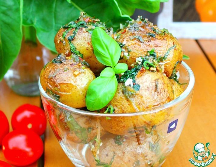 Рецепт: Ароматный картофель с базиликом
