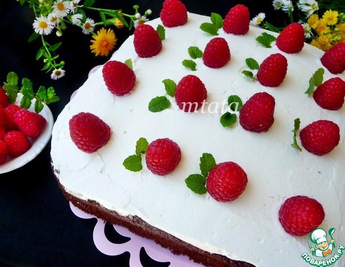 Рецепт: Шоколадный пирог с творожным кремом