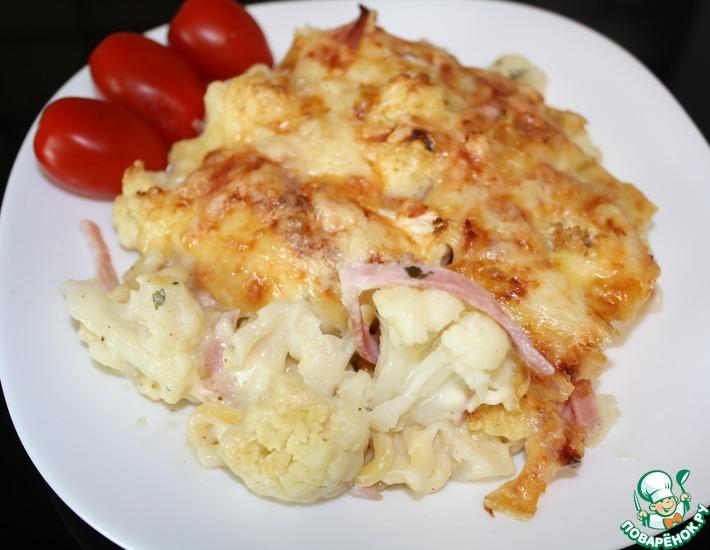 Рецепт: Запеканка из цветной капусты с макаронами