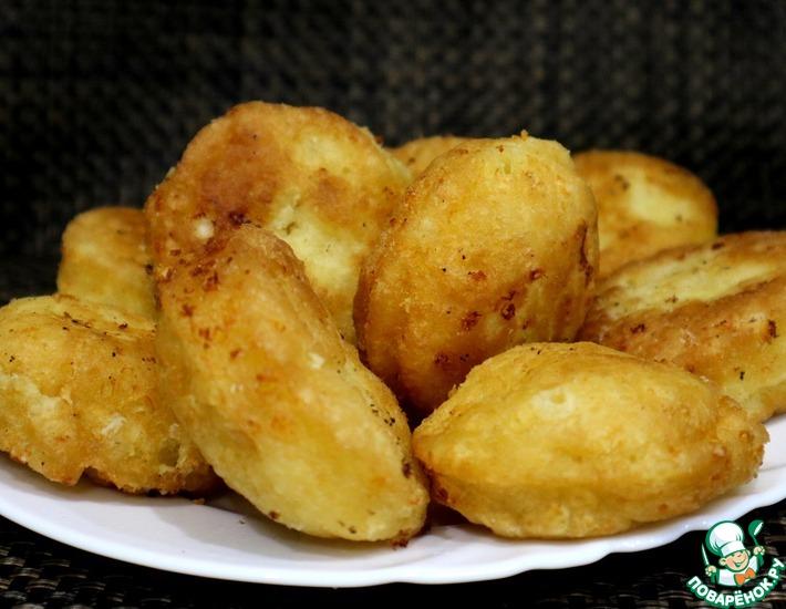 Рецепт: Пончики из творога на сковороде