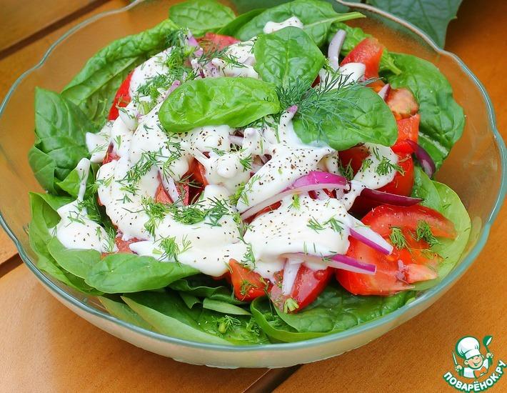 Рецепт: Салат из шпината и помидоров