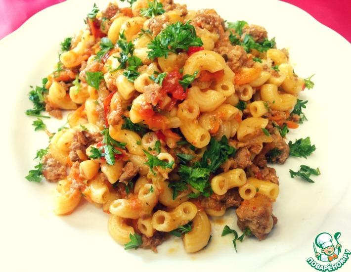 Рецепт: Жареные макароны в овощном соусе