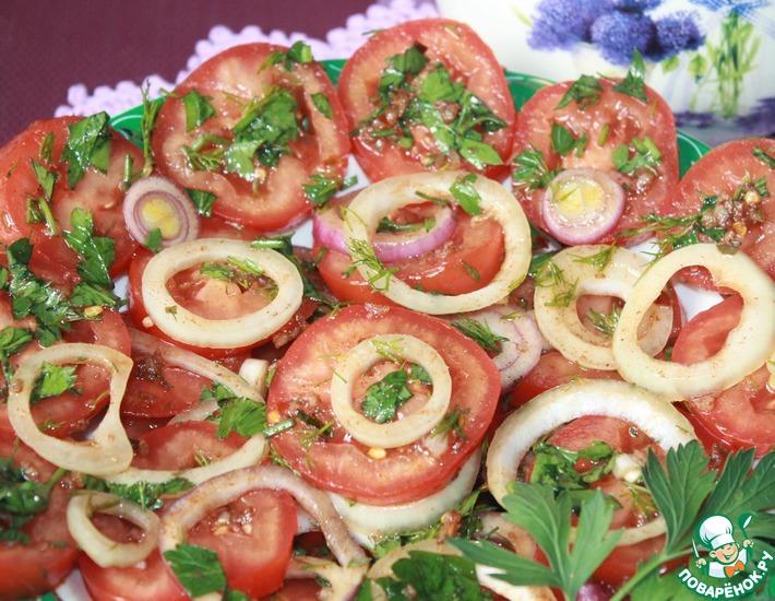 Рецепт: Маринованные помидоры с луком К мясу