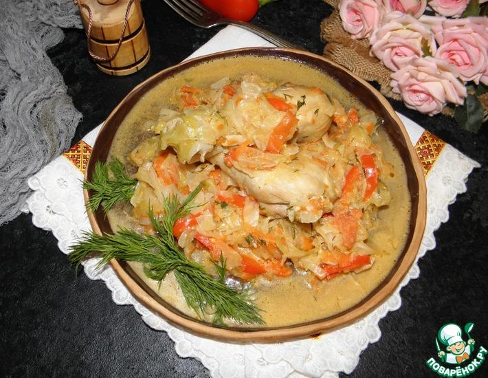Рецепт: Курица, тушенная с овощами
