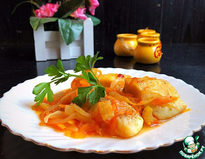 Рецепт: Нежное филе рыбы с овощами