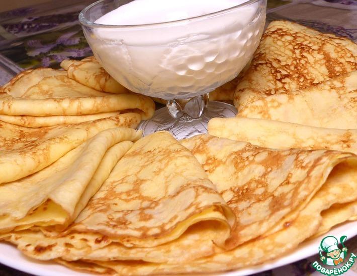 Рецепт: Блинчики из сыра и творога