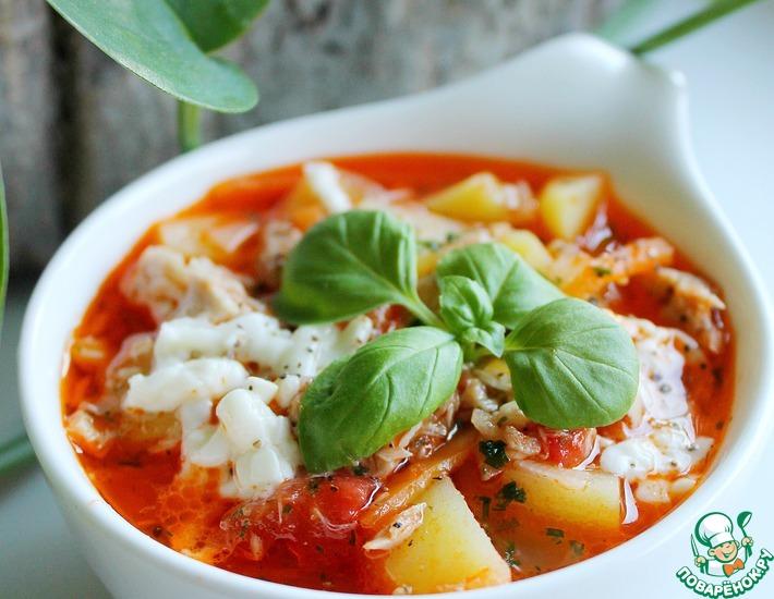 Рецепт: Томатный суп из тунца с моцареллой