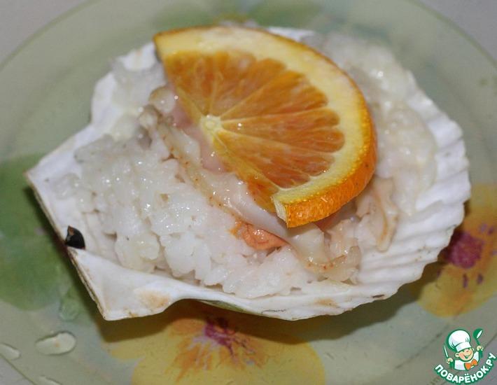 Рецепт: Гребешки с рисом в раковинах
