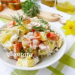 Картофельный салат с копченой индейкой