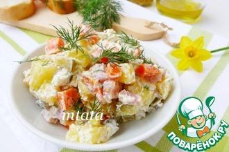 Рецепт: Картофельный салат с копченой индейкой