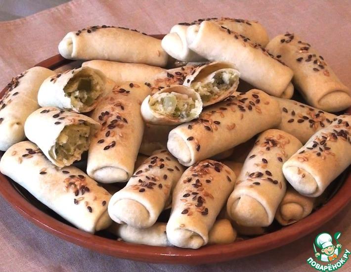 Рецепт: Постные слоеные пирожки с начинкой