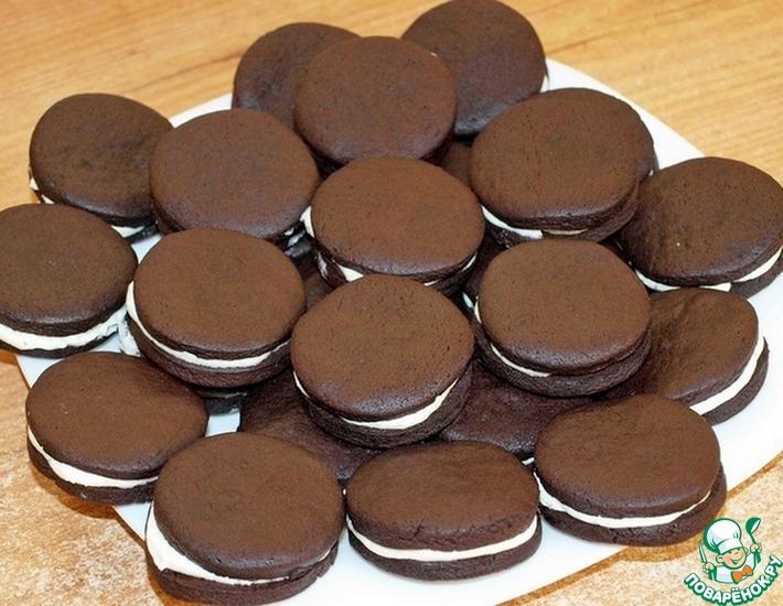 Рецепт: Шоколадное печенье по мотивам Орео
