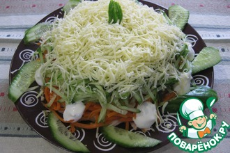 Рецепт: Слоеный салат с копченой курицей