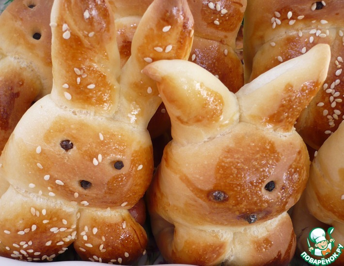 Рецепт: Сосиски в тесте Зайчишки