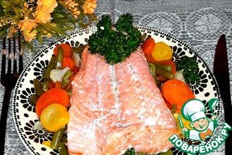 Рецепт: Форель с овощами, запечённая в рукаве
