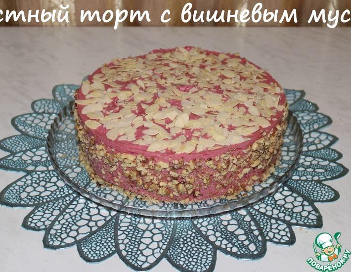 Рецепт: Постный торт с вишневым муссом