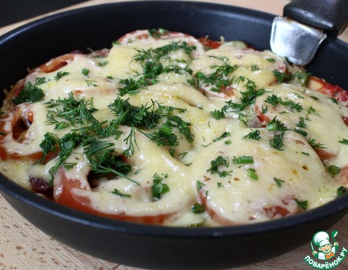 Рецепт: Пицца на сковороде без майонеза