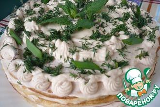 Рецепт: Блинный пирог с муссом из форели